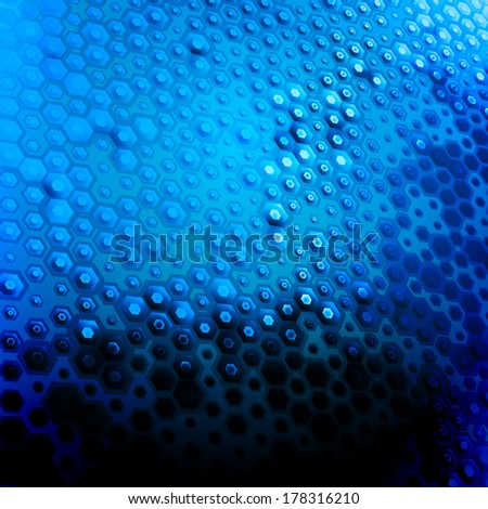 Abstract hexagon background for your technology artwork. Vector illustration. Blue. Perspective - stock vector