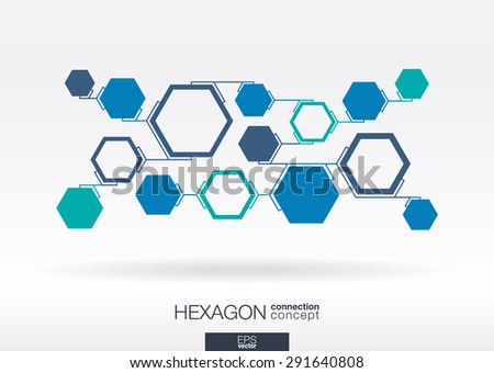 Abstract hexagon background with integrated polygons for Business Company, digital, interactive, network, connect, social media, technology and global concepts. - stock vector