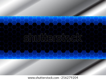 abstract hexagon blue and metal plate background - stock vector