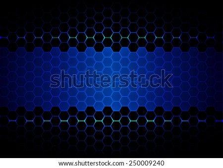 abstract  hexagon blue light and black light technology - stock vector