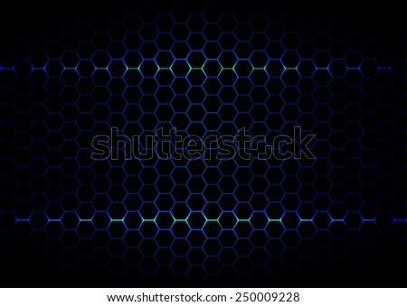 abstract  hexagon blue light technology on black color background  - stock vector