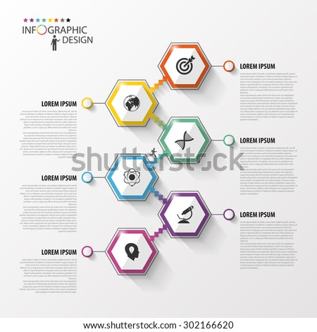 Abstract hexagon infographics or timeline template. Vector illustration - stock vector