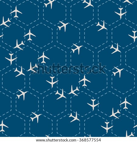 Abstract hexagon seamless pattern with airplanes. Vector illustration - stock vector