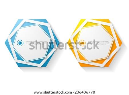 Abstract hexagon shape sticker design. Vector background - stock vector