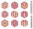 Abstract hexagon shaped vector logo design elements, red and orange