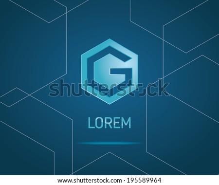 Abstract Hexagon Vector Emblem Design Template. Creative Blue Concept Icon. Combination of Letter G - stock vector