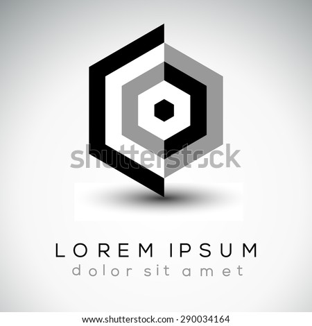 Abstract hexagonal iconic shape, design element illustration - stock vector