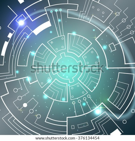 Abstract hi-tech blue background. Vector illustration.