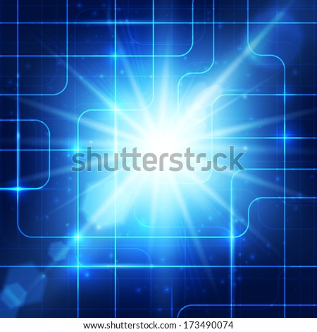 Abstract hi-technology blue background with bright burst. Vector illustration.