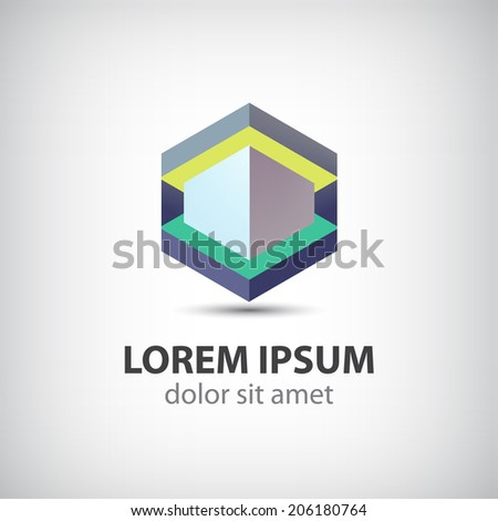 abstract hipster geometric cube modern icon, logo isolated - stock vector