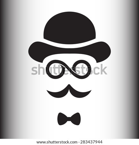 Abstract hipster silhouette with bowler hat, monocle, mustache. - stock vector