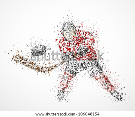 Abstract hockey player, shoots the puck. Eps 10 - stock vector