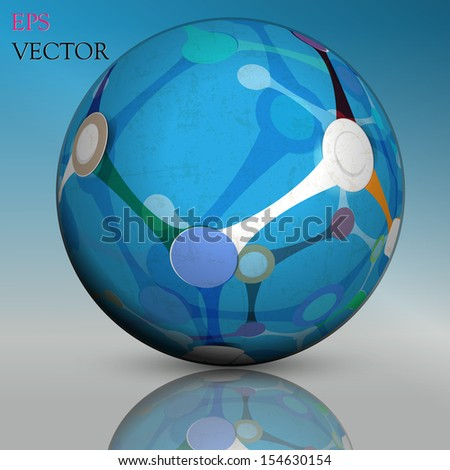 Abstract hollow sphere, dna, molecule