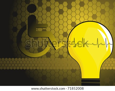 abstract honeycomb background with heartbeat bulb, disabled person - stock vector