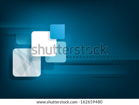 Abstract horizontal blue background with graphic elements. Vector version. - stock vector