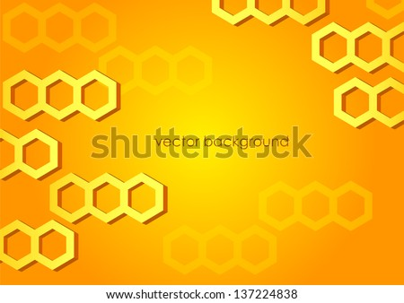 Abstract horizontal orange and yellow background with hexagons. Vector version. - stock vector