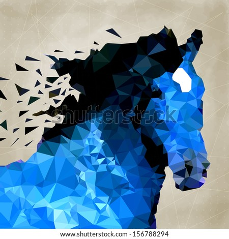 Abstract horse of geometric shape, symbol - stock vector
