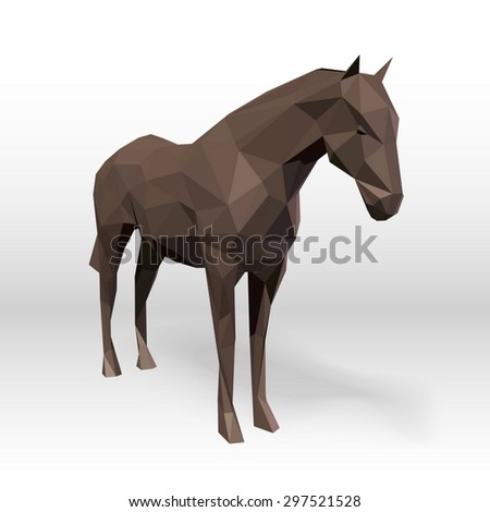 Abstract horse polygonal. Vector illustration. - stock vector