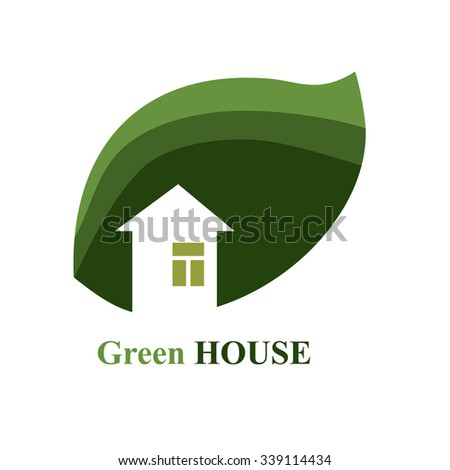 Abstract House and Leaf Logo Template Design.Green house and leaves
