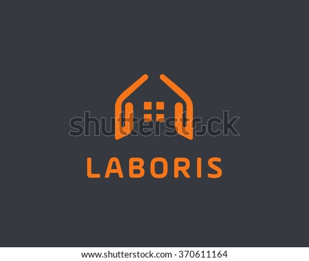 Abstract house hands logo design template. Premium real estate sign. Universal protection care home realty business vector icon. Negative space idea logotype - stock vector