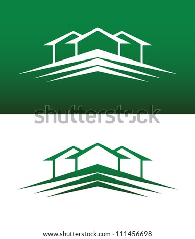 Abstract House Icon Vector on Both Solid and Reversed Background. - stock vector