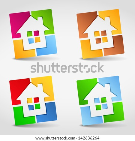 Abstract house icons, design elements for your logo, vector eps10 illustration - stock vector