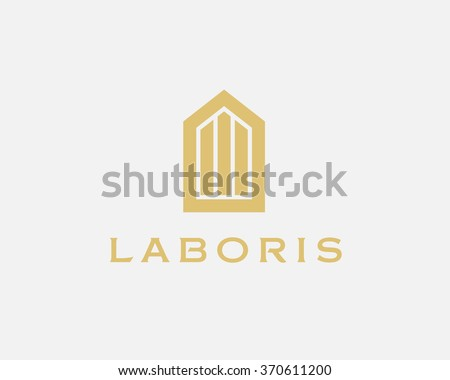 Abstract house logo design template. Premium real estate finance sign. Universal business foundation mount rock vector icon - stock vector