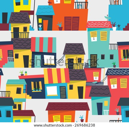 abstract house pattern - stock vector
