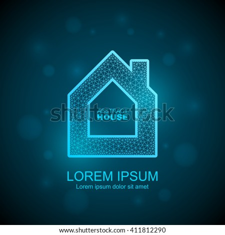 Abstract house wireframe icon. Smart home automation concept. - stock vector
