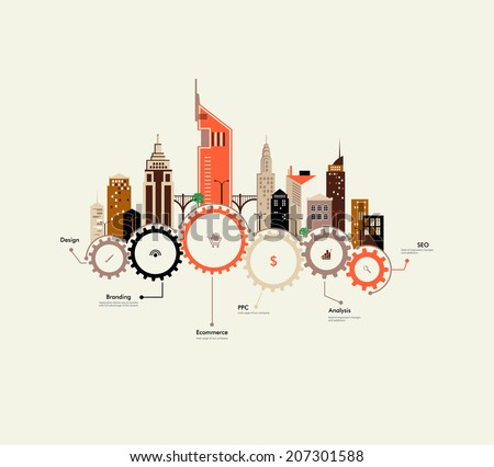 Abstract houses on the gears. Urban infrastructure. Interaction in an urban environment. Flat design. Small business in the city. City life. Urban ecology. City infographics. - stock vector