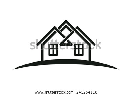 Abstract houses with horizon line. Can be used in advertising. Real estate business theme.