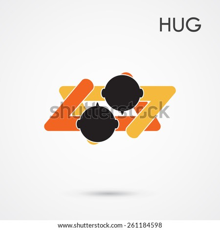 Abstract hug symbol. This graphic also represents couple in love, hug and embrace, close friends together, events like engagement. Vector illustration - stock vector