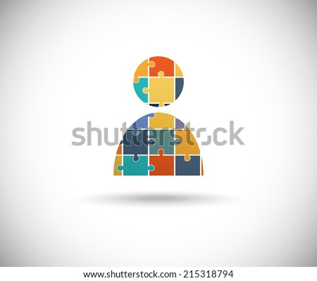 Abstract human body built of puzzle pieces - stock vector
