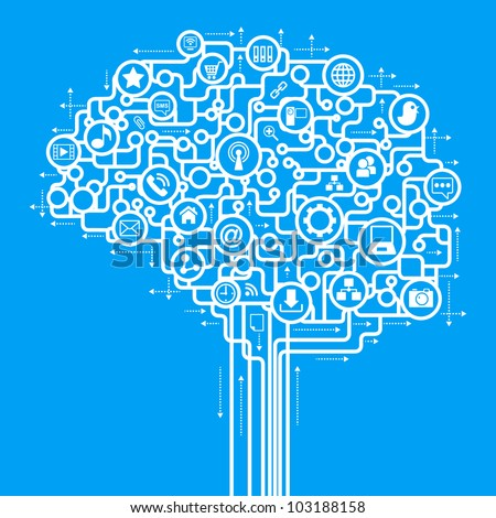 abstract human brain and a computer network. . social network communication in the global computer networks. - stock vector