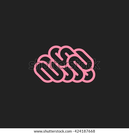 Abstract human brain. Flat line style icon or logo - stock vector