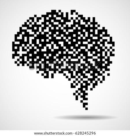 Abstract Human Brain Of Pixels. Vector Logo