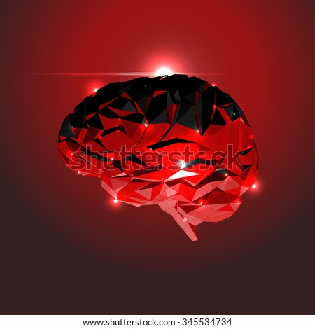 Abstract Human Brain with Lights. Vector Illustration - stock vector