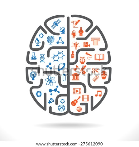Abstract human brain with the icons of art and science. The concept of work left and right sides of the human brain. Back to school icons. File is saved in AI10 EPS version.  - stock vector
