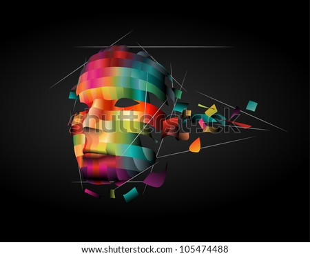 Abstract human face - stock vector