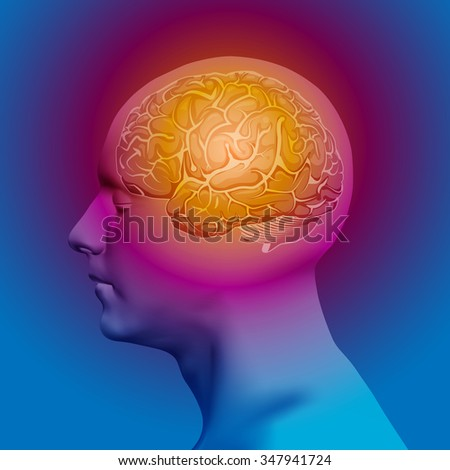 Abstract Human Head with a Brain. Stock Vector Illustration - stock vector