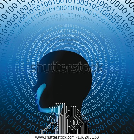 Abstract human head with many binnary codes - stock vector