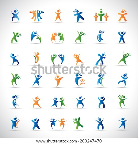 Abstract Human Symbols Set. Success, Celebration, Achievement - Activity - Isolated On Gray Background - Vector Illustration, Graphic Design Editable For Your Design. - stock vector