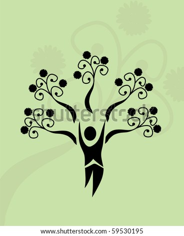 abstract human tree, symbol of life and nature - stock vector