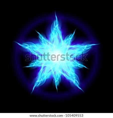 Abstract Ice star. The form of the first. Illustration on black background