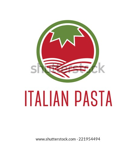 Abstract icon tomato with pasta. Vector - stock vector