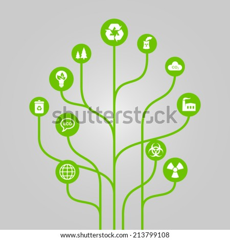 Abstract icon tree illustration - environment, ecology and nature protection concept - stock vector