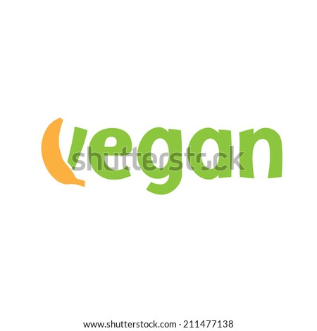 Abstract icon vegan with banana - stock vector