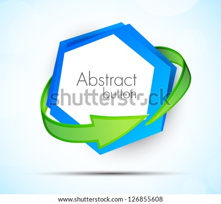 Abstract icon with green arrow - stock vector