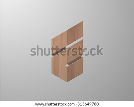 Abstract icon with wooden texture. Logo design. Vector illustration  - stock vector