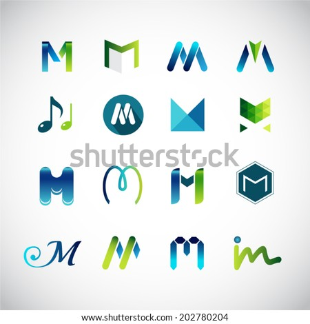 Abstract icons based on the letter M - stock vector